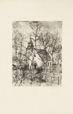 The Church - Original Etching by Michel Ciry - 1964