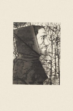 The Priest - Original Black and White Etching by M. Ciry - 1964
