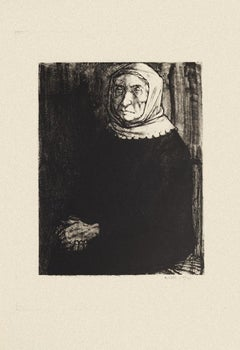 Woman - Original Black and White Etching by Michel Ciry - 1964