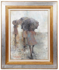 French Expressionist School of Paris Oil Painting Women with Umbrellas Rainy Day