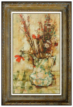 Michel De Gallard Original Oil Painting On Canvas Signed Still Life Flowers Art