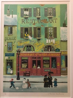 Hand signed Folk Art Naive lithograph on Arches Paper Paris Snowman Scene