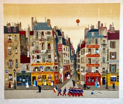 Hand signed Folk Art Naive lithograph on Japon Paper Paris Cafe Street Scene
