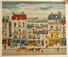 Hand signed Folk Art Naive lithograph on Japon Paper Paris Street Scene