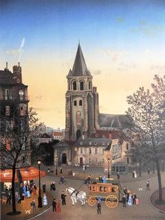 Paris : Saint Germain des Pres Church - Lithograph poster