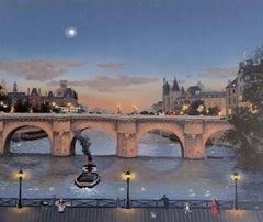 PONT NEUF LE SOIR, Signed Original Lithograph, Historic Paris Bridge