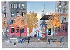 Un signe de la Main, Signed Lithograph, Historic Paris Street Scene