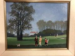 """Michel Delacroix """"Recontre matinale sur le golf"""" Morning golf outing"""
