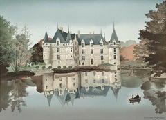 Azay le Rideau, Stone-signed Lithograph, Michel Delacroix
