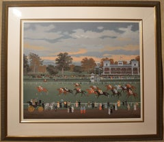 Courses a Vincennes - Lithograph by Michel Delacroix