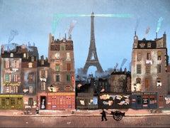 Paris : la Tour Eiffel - Lithograph poster