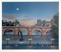 PONT NEUF LE SOIR, Signed Original Lithograph, Paris Night Scene Historic Bridge