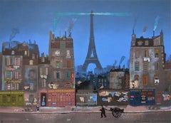 Tour Eiffel le Soir, Limited Edition Lithograph, Michel Delacroix
