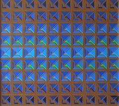 Kinetic Modern Abstract Painting Blue Brown Geometric Paper Collage Carré
