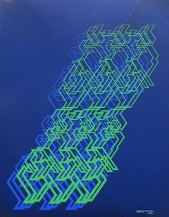 "Kinetic Modern Abstract Painting - Blue Geometric Paper Collage - ""Graphisme"""