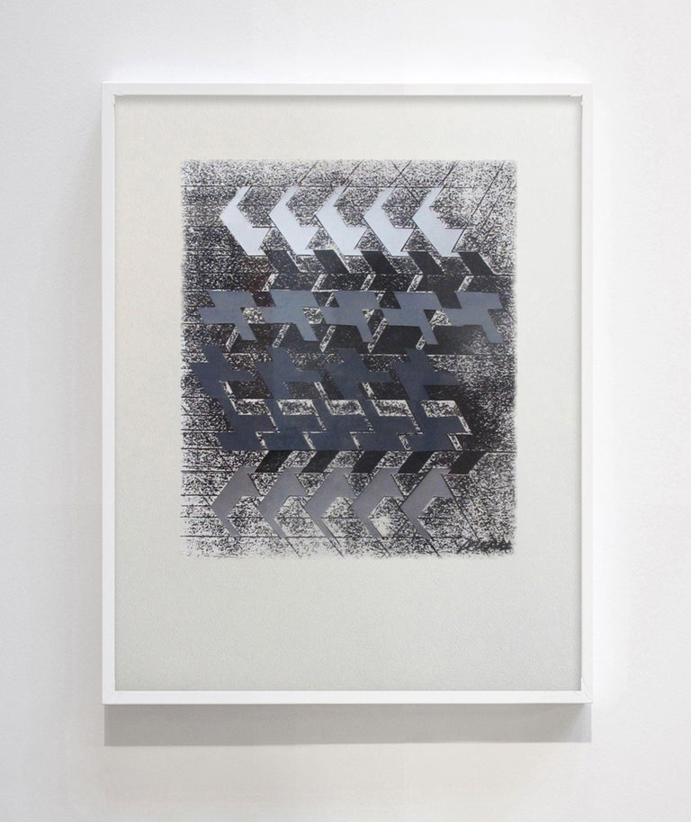 """Michel Deverne Landscape Painting - Kinetic Modern Abstract Painting Geometric Paper Collage on Silkscreen """"Rythmes"""""""
