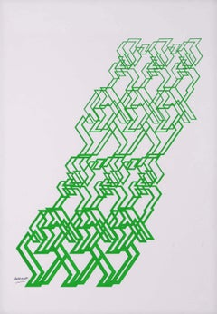 "Kinetic Modern Abstract Painting - Green Geometric Paper Collage - ""Graphisme"""