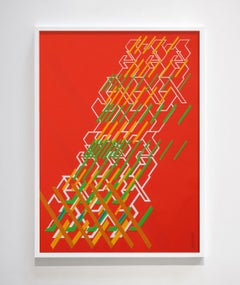 "Kinetic Modern Abstract Painting - Red Geometric Paper Collage - ""Graphisme"""