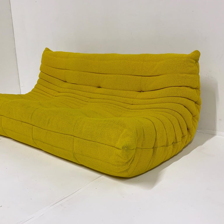 Mid-Century Modern Michel Ducaroy for Ligne Roset Rare Yellow Toga Sofa / Large Settee For Sale