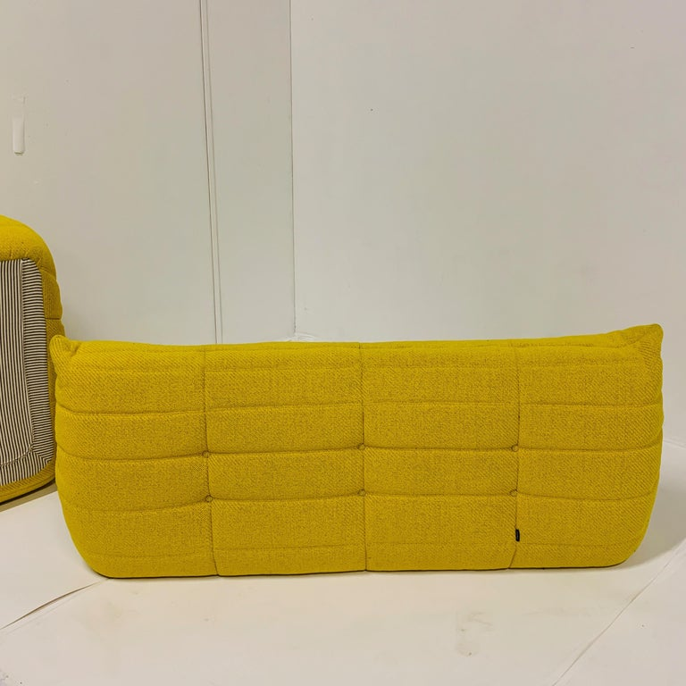Michel Ducaroy for Ligne Roset Rare Yellow Toga Sofa / Large Settee In Good Condition For Sale In Hudson, NY