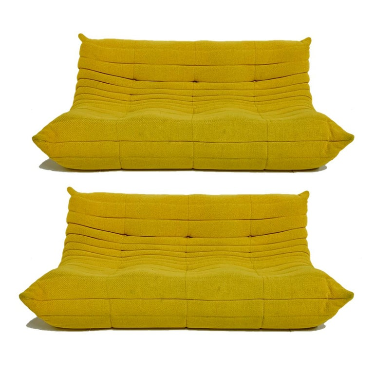 Michel Ducaroy for Ligne Roset Rare Yellow Toga Sofa / Large Settee For Sale