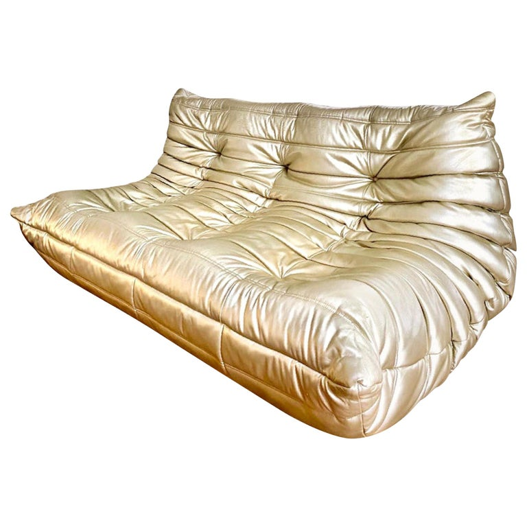 Michel Ducaroy for Ligne Roset Togo Three-Seat Sofa, Limited Edition, Gold 1990s For Sale