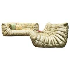 Michel Ducaroy for Ligne Roset Togo Living Room Sofa Set of 2, Gold, Sectional