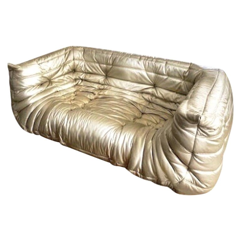 Michel Ducaroy, Ligne Roset Togo Sofa with Arms, Limited Edition, Gold, Medium For Sale