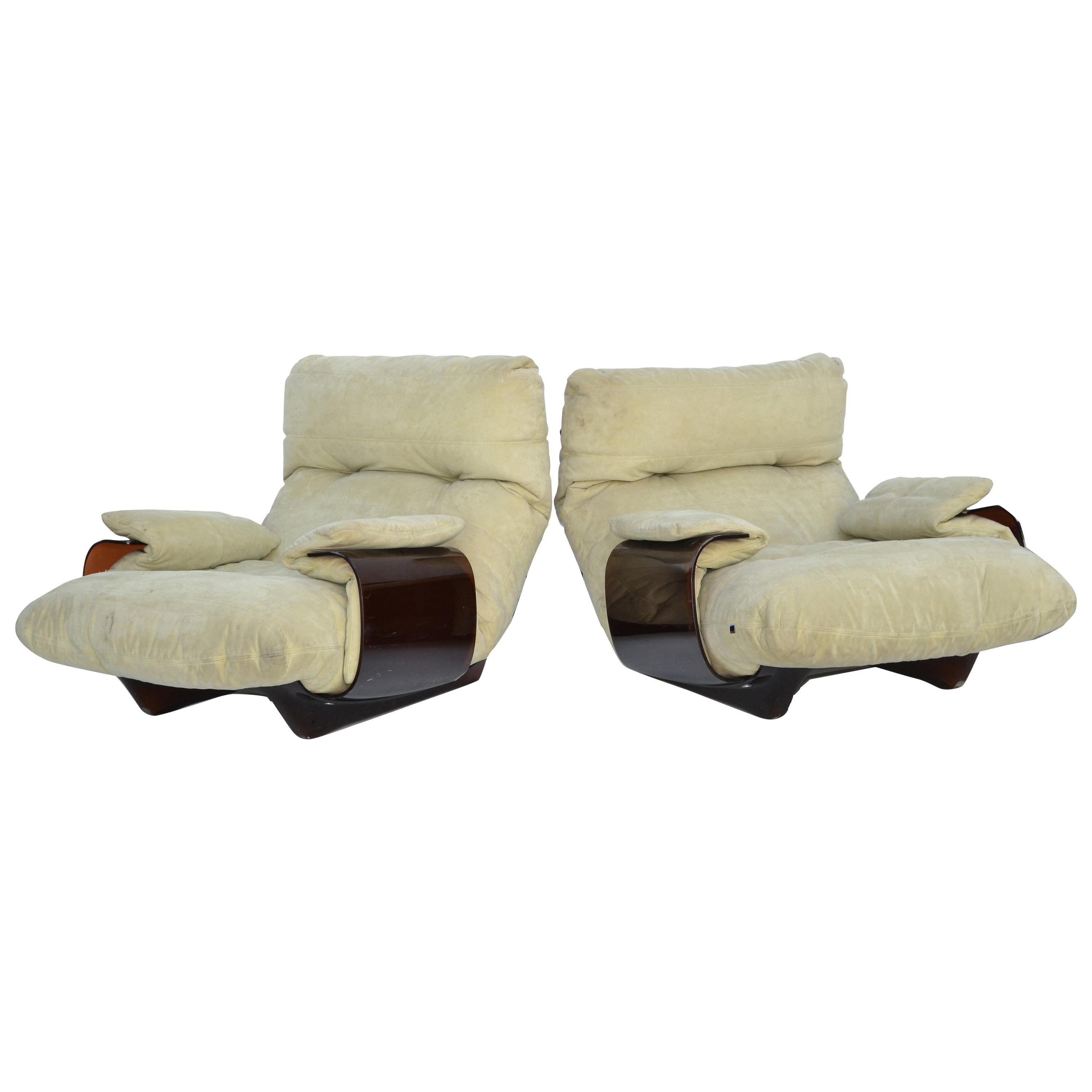 Michel Ducaroy 'Marsala' Ultra-Suede and Bronze Lucite Lounge Chairs, Pair