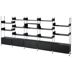 Michel Ducaroy Modular Wall Unit in Black Lacquered Wood and Steel