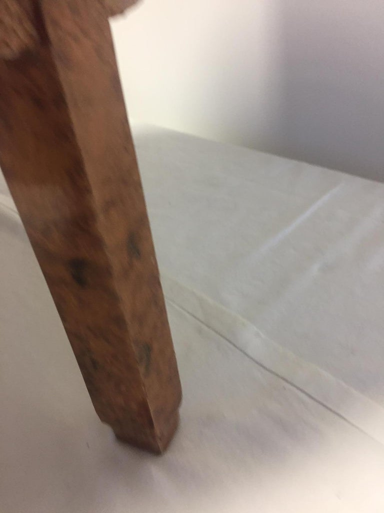 Michel Duffet Art Deco Armchair Elm Burl Veneer and Snake Skin Upholstery For Sale 7
