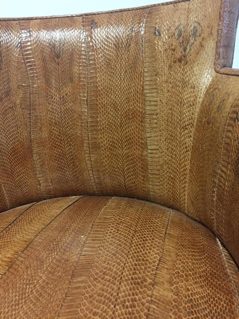 Michel Duffet Art Deco Armchair Elm Burl Veneer and Snake Skin Upholstery For Sale 9