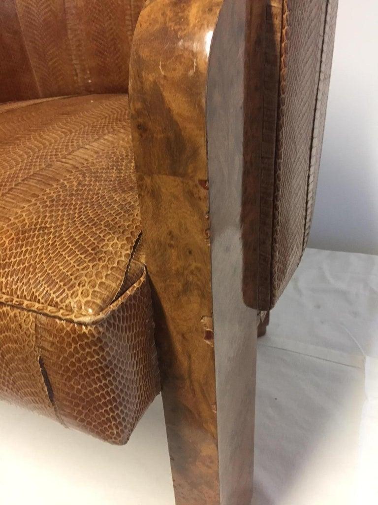 Michel Duffet Art Deco Armchair Elm Burl Veneer and Snake Skin Upholstery For Sale 11