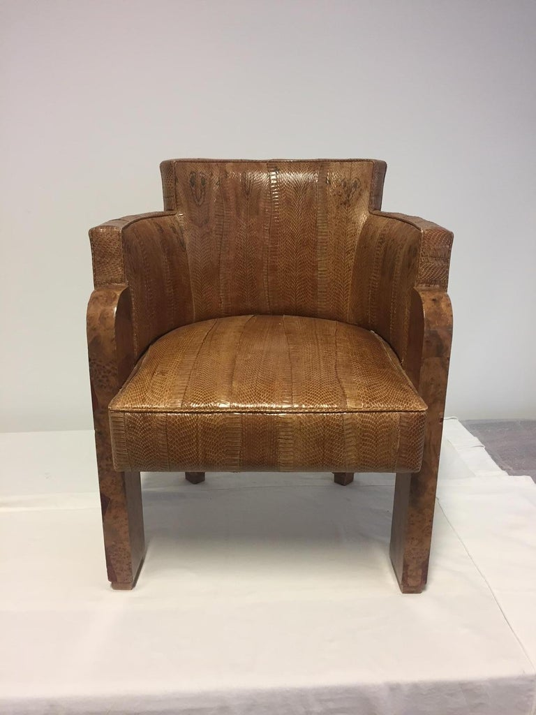 Michel Duffet Art Deco Armchair Elm Burl Veneer and Snake Skin Upholstery For Sale 14