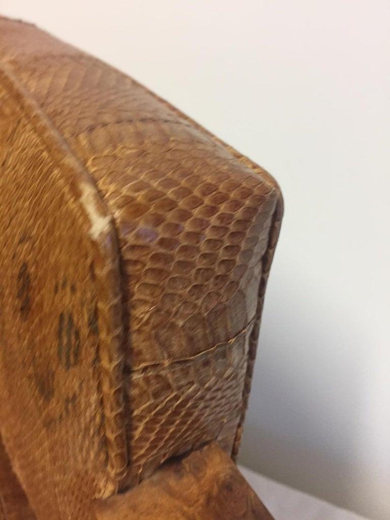 French Michel Duffet Art Deco Armchair Elm Burl Veneer and Snake Skin Upholstery For Sale