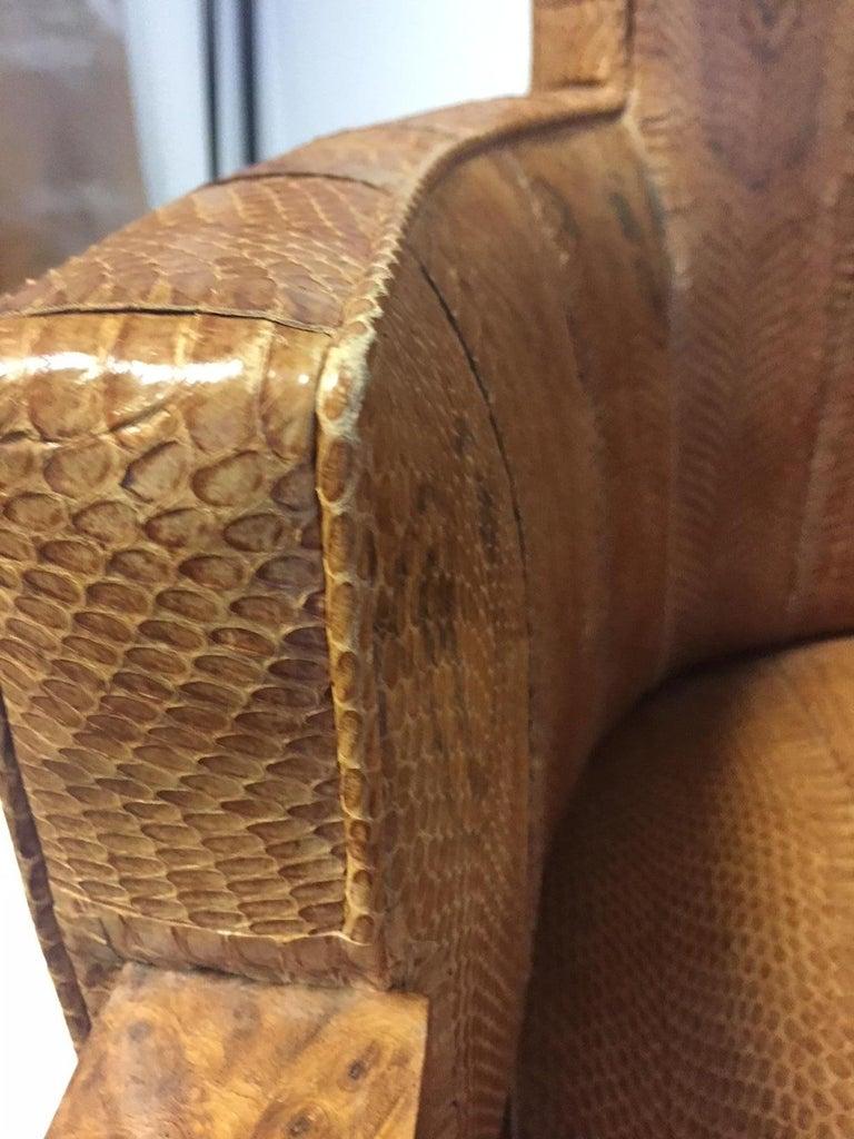 Michel Duffet Art Deco Armchair Elm Burl Veneer and Snake Skin Upholstery In Good Condition For Sale In Hamburg, DE