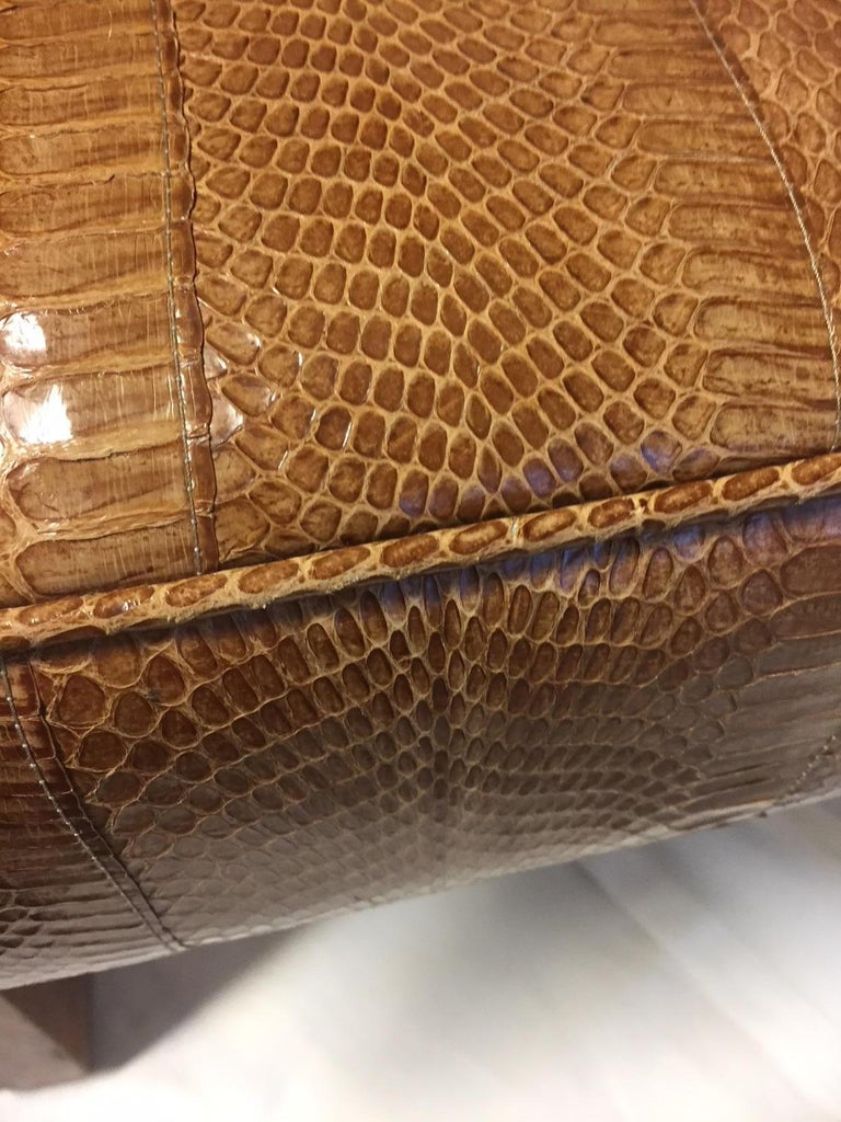 Early 20th Century Michel Duffet Art Deco Armchair Elm Burl Veneer and Snake Skin Upholstery For Sale