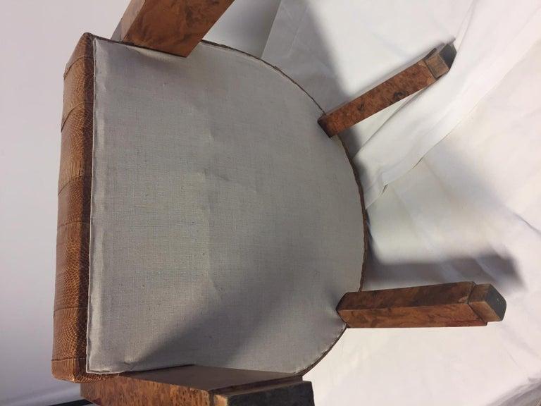 Michel Duffet Art Deco Armchair Elm Burl Veneer and Snake Skin Upholstery For Sale 1