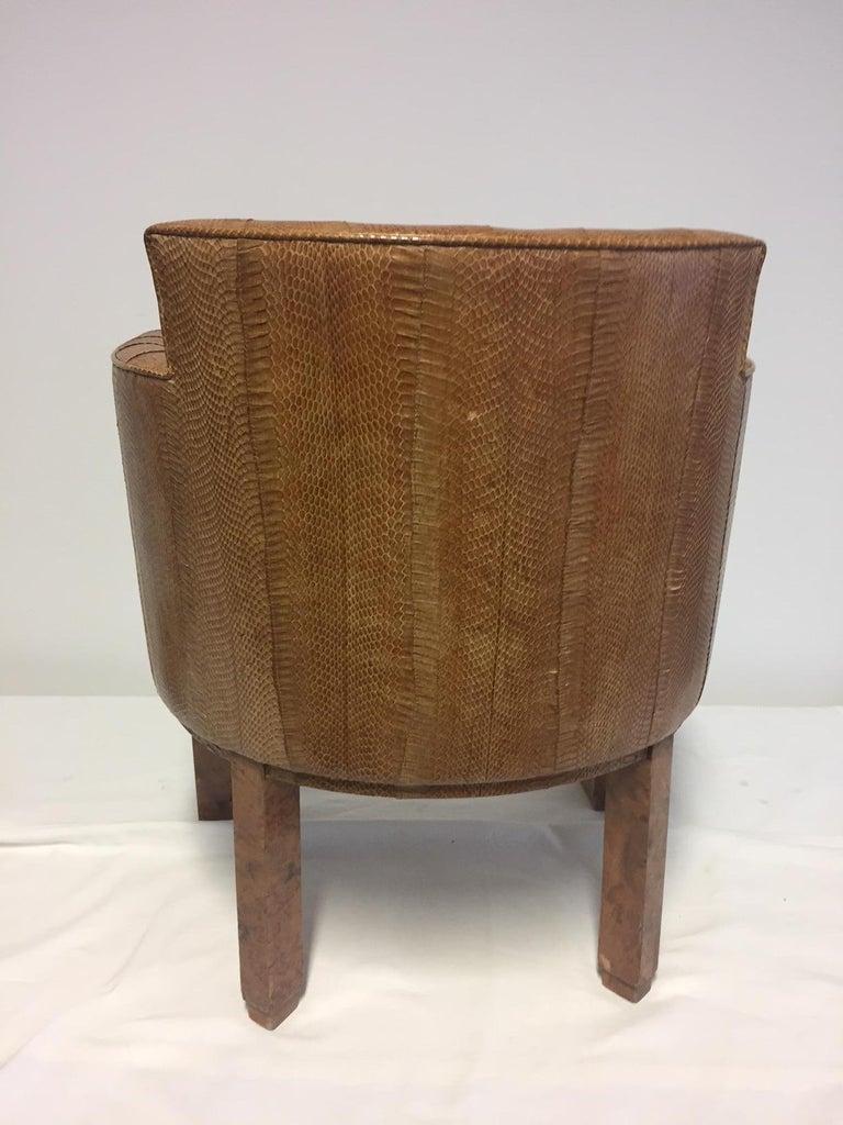 Michel Duffet Art Deco Armchair Elm Burl Veneer and Snake Skin Upholstery For Sale 3