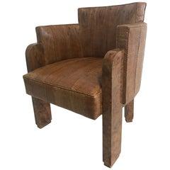 Michel Duffet Art Deco Sessel aus Ulmenholzfurnier mit Schlangenhaut-Polster