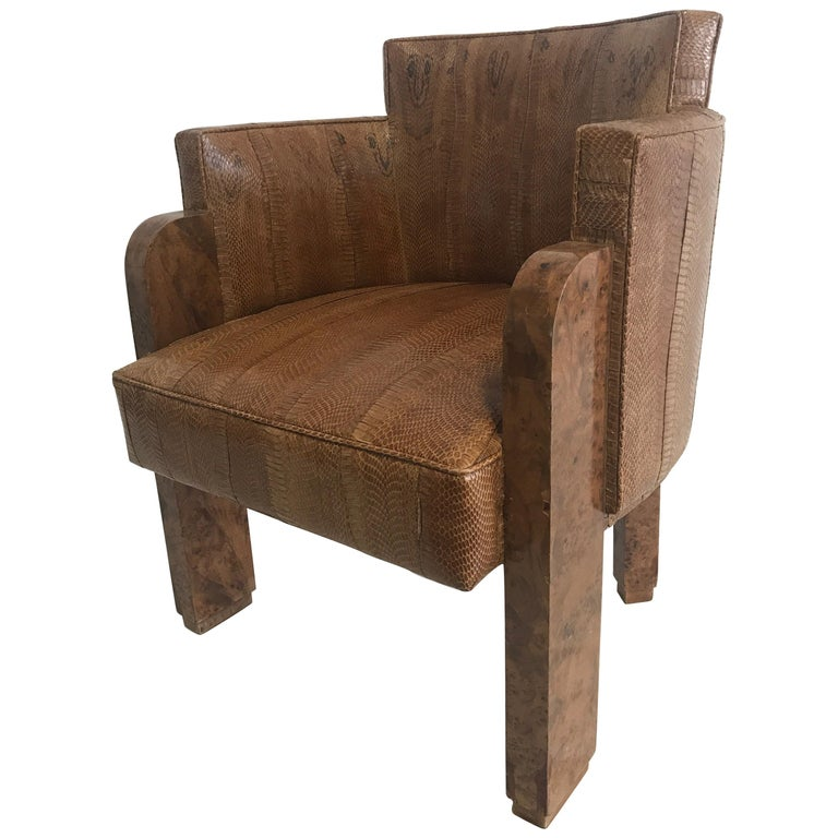 Michel Duffet Art Deco Armchair Elm Burl Veneer and Snake Skin Upholstery For Sale
