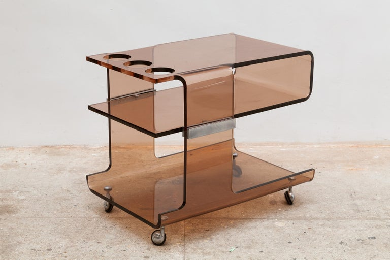 Mid-Century Modern Michel Dumas for Roche Bobois 1970's Lucite Bar Cart, France For Sale