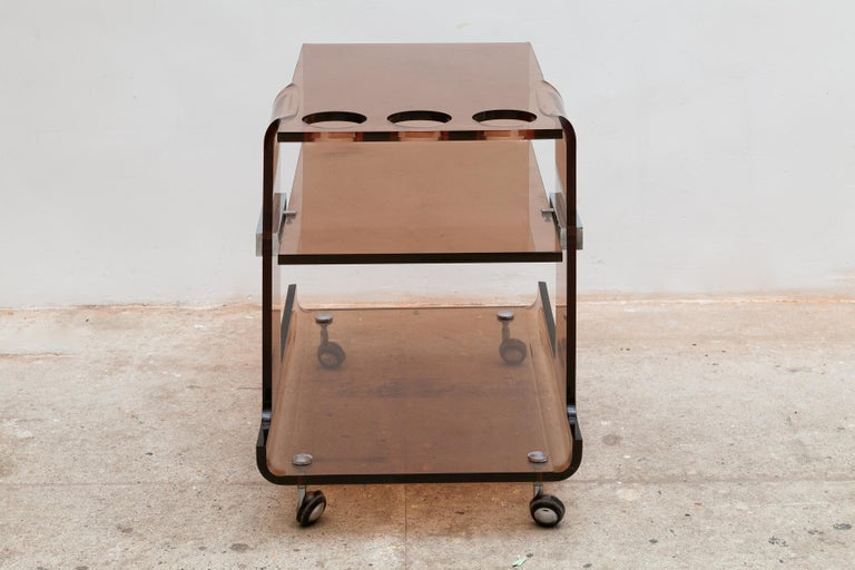 French Michel Dumas for Roche Bobois 1970's Lucite Bar Cart, France For Sale