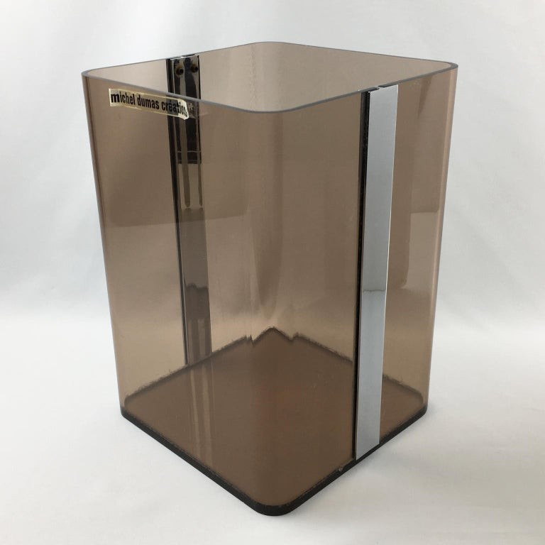 Mid-Century Modern Michel Dumas for Roche Bobois 1970s Smoked Lucite and Chrome Paper Waste Basket For Sale