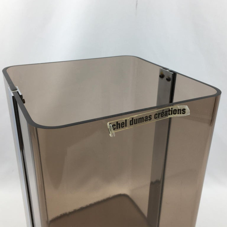 French Michel Dumas for Roche Bobois 1970s Smoked Lucite and Chrome Paper Waste Basket For Sale
