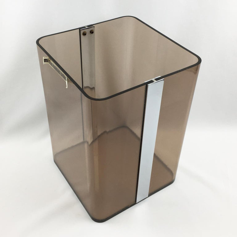 Late 20th Century Michel Dumas for Roche Bobois 1970s Smoked Lucite and Chrome Paper Waste Basket For Sale