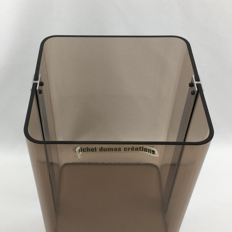 Michel Dumas for Roche Bobois 1970s Smoked Lucite and Chrome Paper Waste Basket For Sale 1