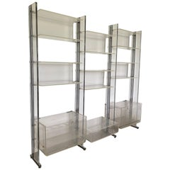 Michel Dumas Large Chrome, Clear Plexiglass Shelf Unite by Roche Bobois