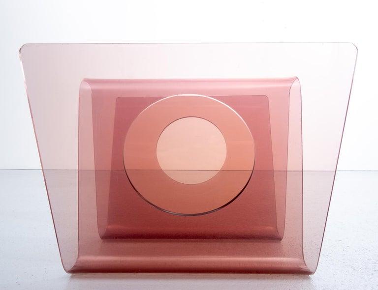 Smoked plexiglass magazine holder. Design Michel Dumas for Roche Bobois, 1970s, France.