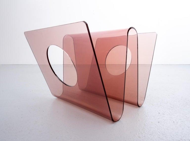 Plexiglass Michel Dumas Magazine Holder, 1970s, France For Sale